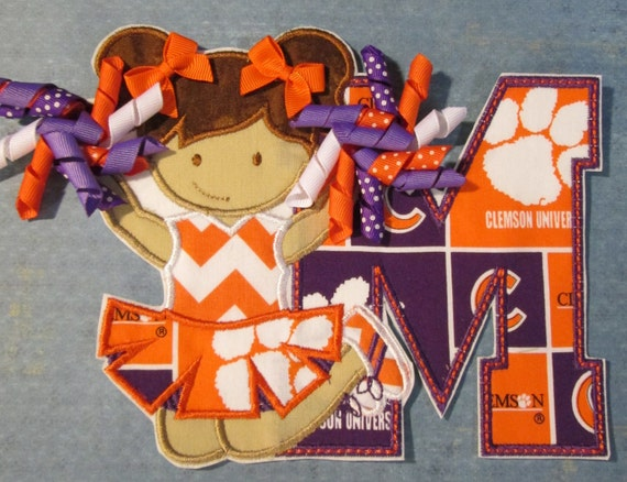 Cheerleader With Letters and Korker Ribbons - Sports Teams - Iron On or Sew On Embroidered Custom Made Appliques