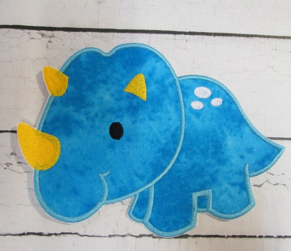 Triceratops Embroidered Applique Patch , Iron On, Sew On, Glue On, Patches, Handmade, Custom Made Colors