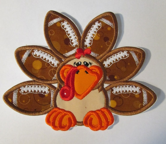 Football Turkey Girl or Boy - Iron On or Sew On Embroidered Custom Made Applique
