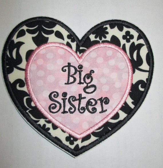 Iron On Applique - Big Sister and Little Sister Damask Hearts