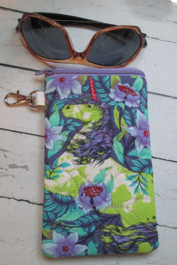 Unicorn Glasses Pouch, Sunglass Case, Accessory Case, Cell Phone, Passport Case, Handmade, Zippered Pouch, Travel Case, Accessories