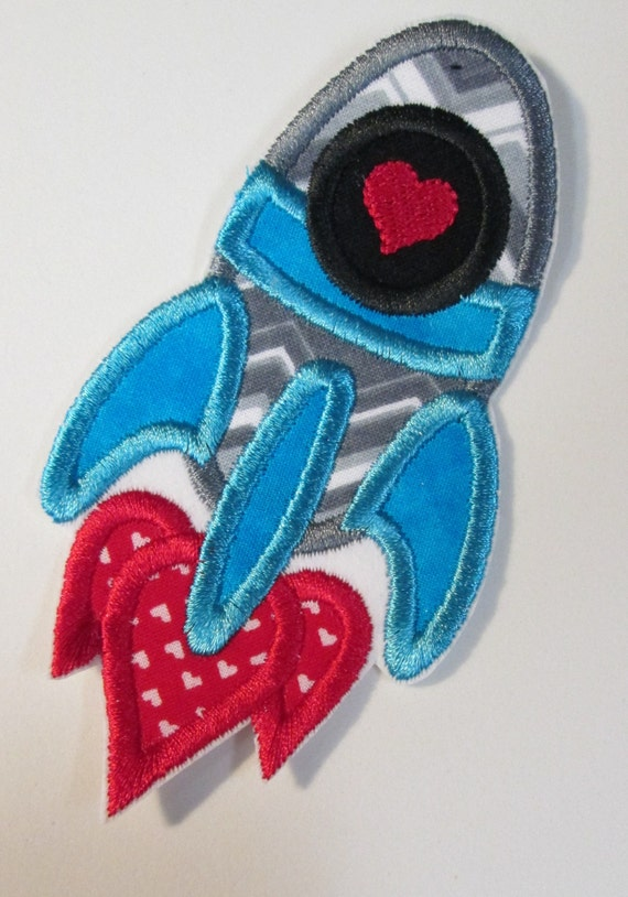 Rocket, Iron On Applique, Patch, Patches, Embroidery, Embroidered Custom Made, BigBlackDogDesigns
