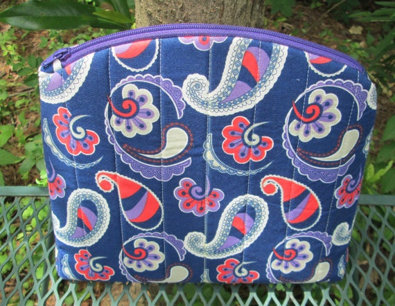 Purple Paisley Betty Pouch size large, cosmetics case, project bag, zipper pouch, travel case - Ready To Ship
