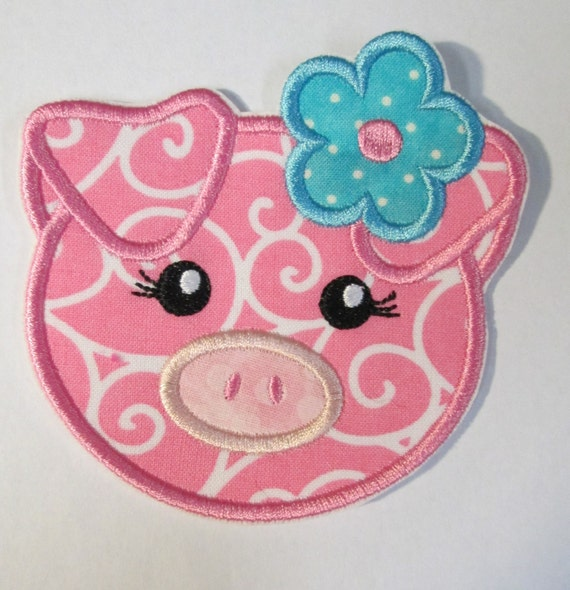 Girlie Pink Pig - Fabric Embroidered Iron On Applique