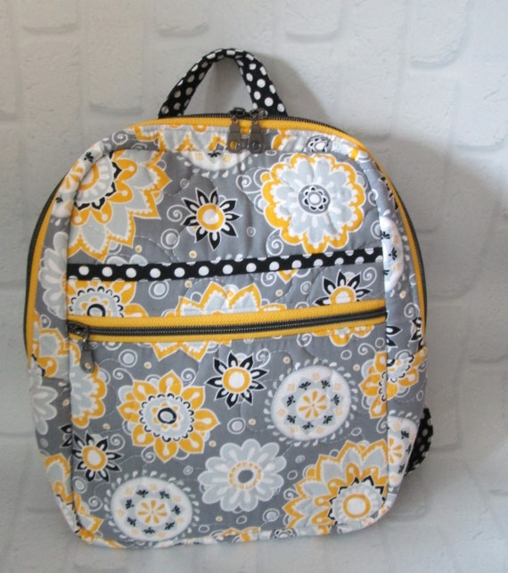 Backpack Purse, Handmade in USA, Purse, Backpack, Day Bag, Knapsack, Quilted, BigBlackDogDesgins, Zippered Day Pack, Yellow, Black, Gray