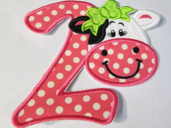Cow Birthday or Letter, Iron On Applique Patch, Sew On, Custom Made, Embroidered, Patches