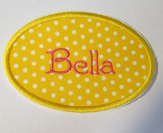 Oval Name Tag - Iron On or Sew On Embroidered Applique