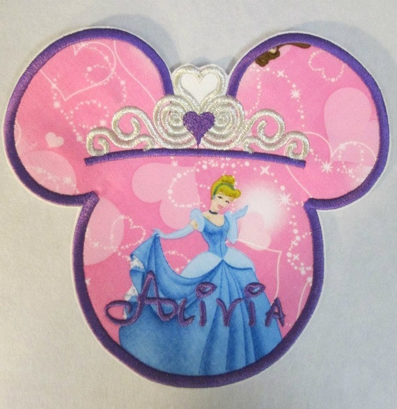 Iron On or Sew On Embroidered Custom Made Applique - Princess Girl Mouse Head with Tiara