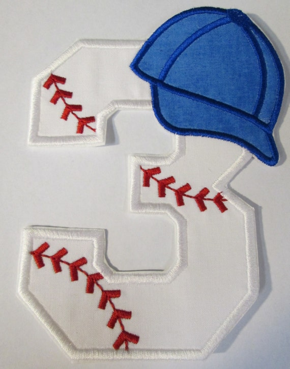 Baseball Number Girl or Boy, Baseball Hat, Iron On Applique, Patch, Sew On Applique Patch, Custom Made, Handmade