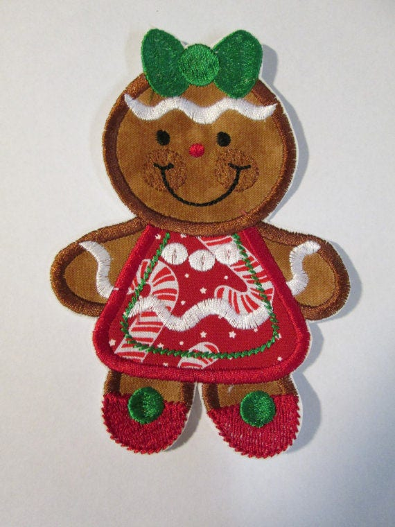 Gingerbread Men and Women, Christmas, Iron On Applique Patch, Sew On, Custom Made, Embroidered, Patches
