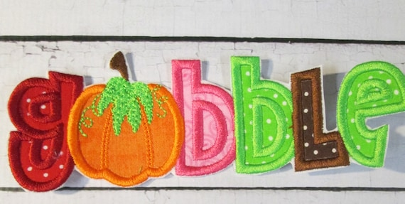 Thanksgiving Iron On Applique - Gobble Words