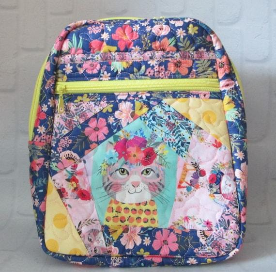 Kitten Floral Envy Backpack Purse, Handmade in USA, Purse, Backpack, Day Bag, Knapsack, Quilted, BigBlackDogDesgins, Zippered Day Pack