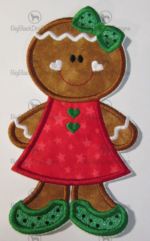 Girly Gingerbread Girl, Iron On, Sew On, Embroidered Applique, Applique, Patch, Patches, BigBlackDogDesigns, Christmas
