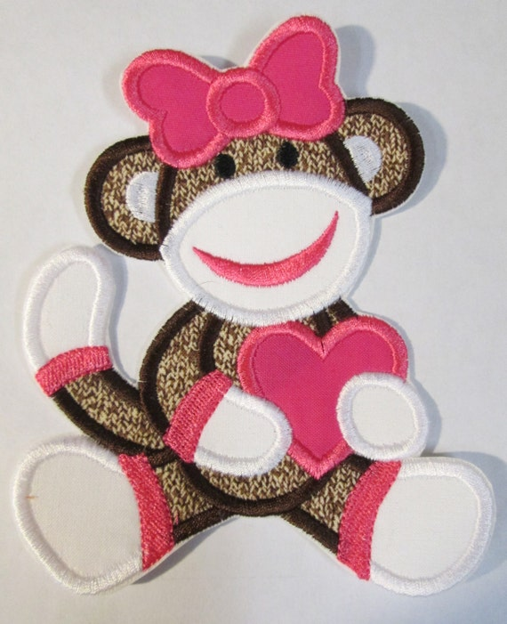Sock Monkey, Heart, Iron On Applique Patch, Sew On, Custom Made, Embroidered, Patches