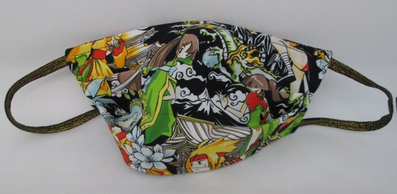 Face Mask, Fabric Face Mask, Facemask, Mask, Reusable Face Mask, Washable Face Mask, Anime, Japanese , Medium, Reversible