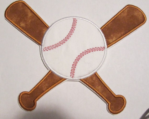Baseball and Bats, Embroidered Name, Iron On Applique Patch, Sew On, Custom Made, Embroidered, Patches, BigBlackDogDesigns