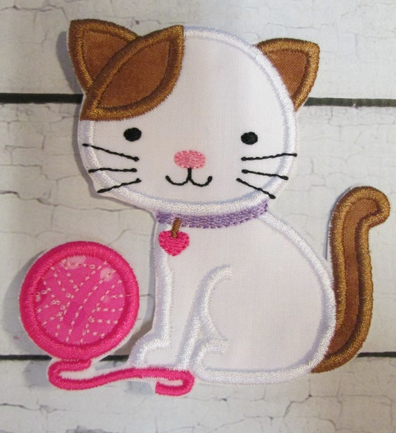 Kitty and Yarn Applique Patch - Iron On, Sew On, Glue On Embroidered Applique, Handmade, Custom Made