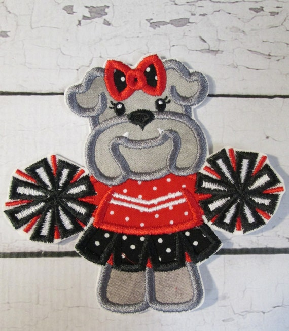Iron On Applique Patch,BullDog Mascot, Bull Dog, Cheerleader, Sew On, Custom Made, Embroidered, Patches