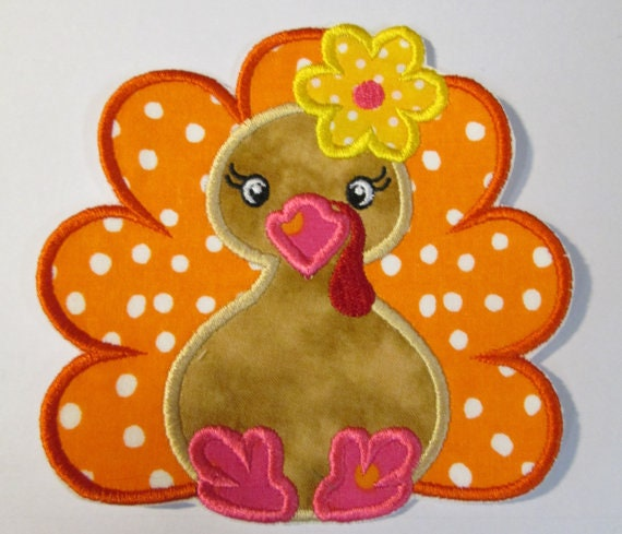 Turkey Girl, Thanksgiving ,Iron On Applique Patch, Sew On, Custom Made, Embroidered, Patches