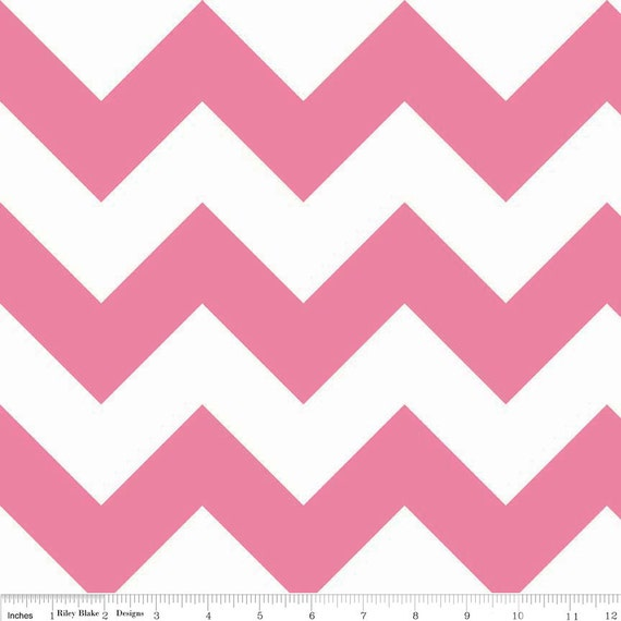 Fabric Riley Blake Hot Pink and White Chevron Cotton Fabric
