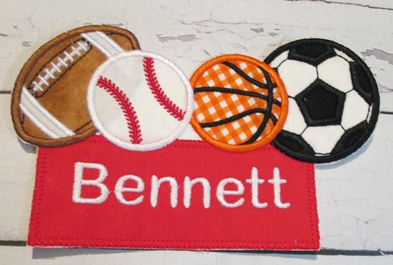 Sport Balls Name Tag, Iron On Applique Patch, Sew On, Custom Made, Embroidered, Patches, BigBlackDogDesigns