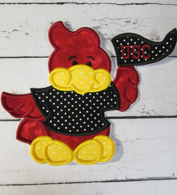 GameCock Team Mascot With Flag - Iron On or Sew On Embroidered Custom Made Applique