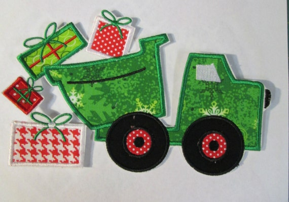 Christmas Dump Truck - Iron On or Sew On Embroidered Custom Made Applique
