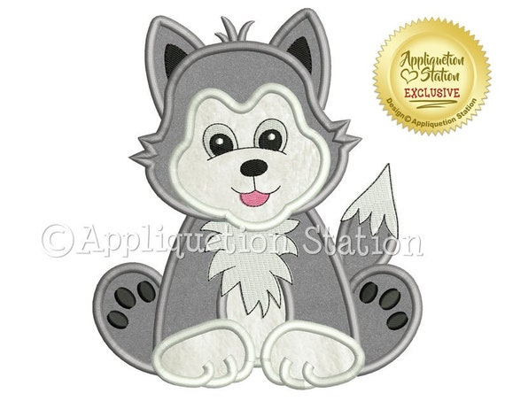 Baby Wolf Pup, Zoo Animal, Iron On Applique, Patch, Handmade, Custom Made Appliques Patches, BigBlackDogDesigns