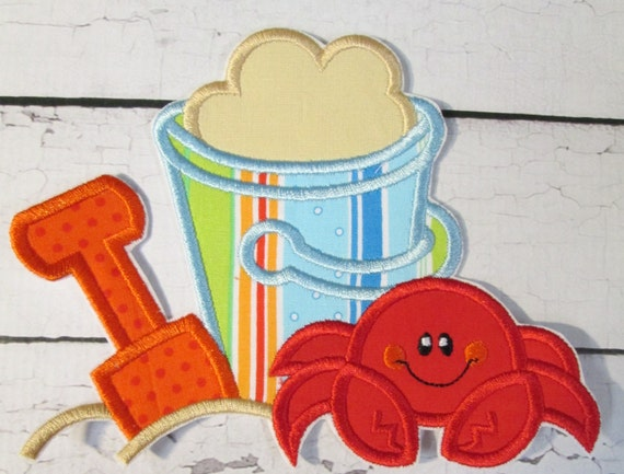 Beach Bucket and Crab - Iron On or Sew On Embroidered Custom Made Applique