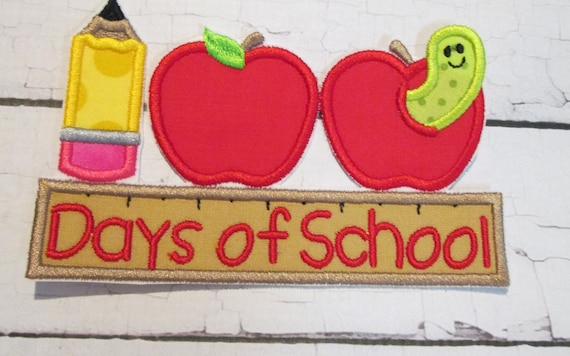 100 Days of School, Iron On, Sew On Embroidered Applique Patch, BigBlackDogDesigns, Patch, Handmade, School, Apple, Bookworm, Pencil