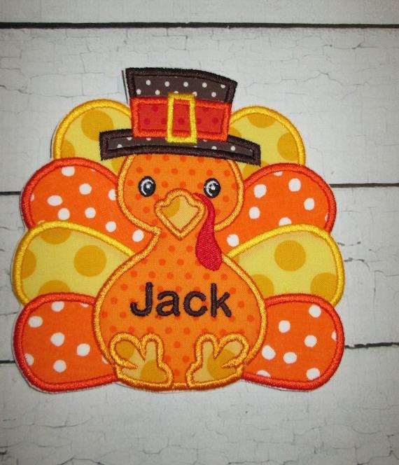 Pilgrim Turkey , Iron On, Sew On, Glue On, Applique Patch, Thanksgiving, Holiday, Boy, Handmade, Customize, BigBlackDogDesigns