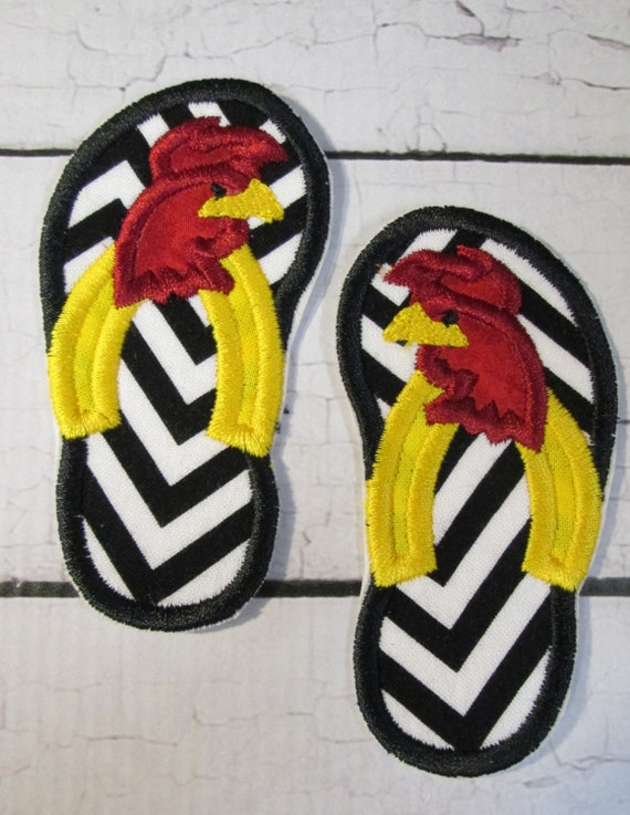 Gamecock, Rooster , Flip Flops, College Team  Football, Iron On Applique Patch, Sew On, Custom Made, Embroidered, Patches