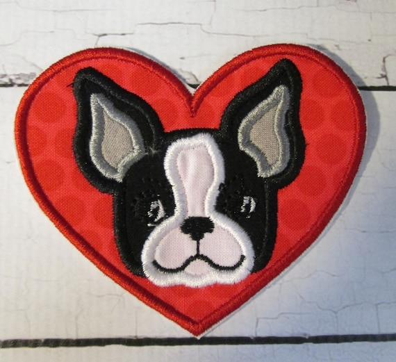 Boston Terrior Heart - Iron On or Sew On Embroidered Custom Made Applique