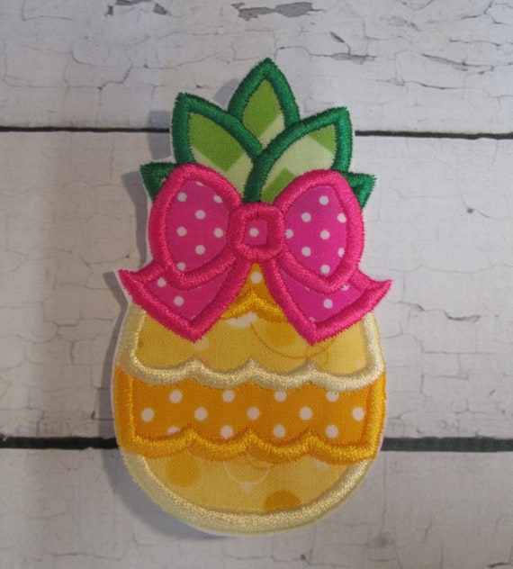 Pineapple Bow Iron On Applique, Sew On, Embroidered Applique, Patch, Patches, Handmade, BigBlackDogDesigns