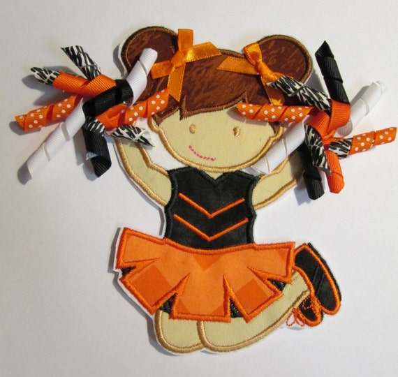 Cheerleader Single with Korker Bow Pom Poms - Sports Team Iron On or Sew On Embroidered Appliques