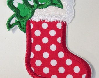 Iron On Applique Christmas Stocking