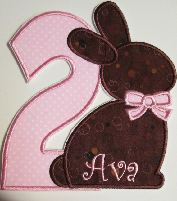 Bunny Birthday - Fabric Embroidered Iron On Applique Patches  Monogram or Name Included  Easter Bunny Birthday
