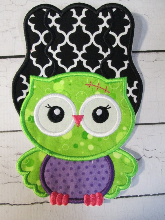 Halloween Frankie Owl - Iron On or Sew On Custom Made Embroidered Applique