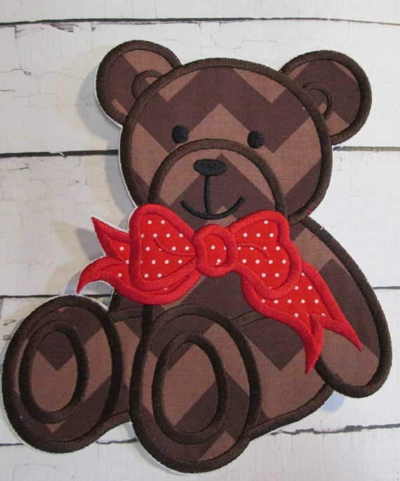 Teddy Bear Girl or Boy - Iron On or Sew On Embroidered Handmade Applique Patch
