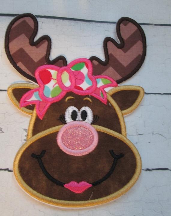 Diva Reindeer, Sunglasses Reindeer - Iron On or Sew On Embroidered Custom Made Applique, Iron On, Sew On, Reindeer, Christmas