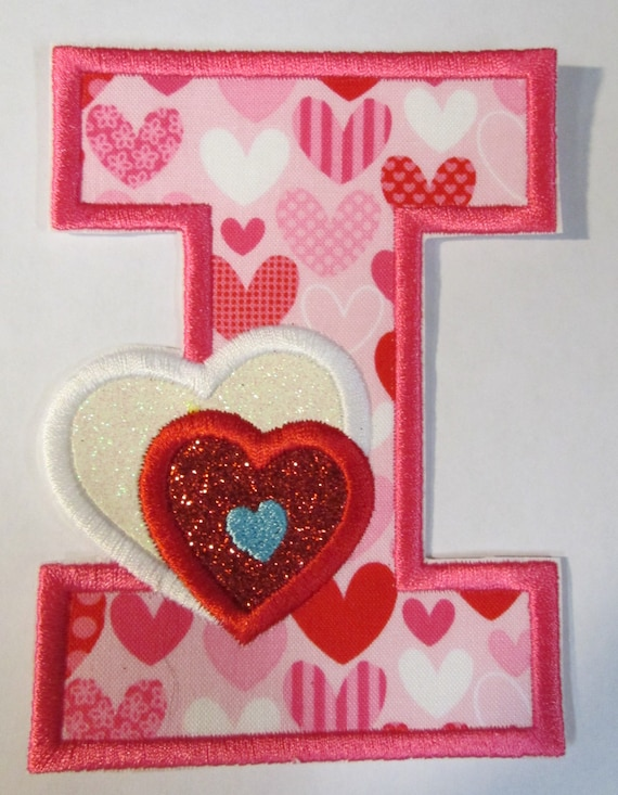 Valentine Letter with Hearts, Iron On Applique Patch, Sew On, Custom Made, Embroidered, Patches