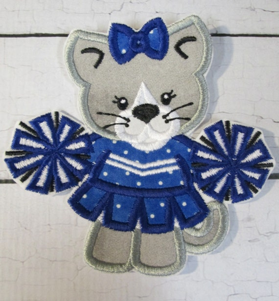 Football Mascots or Cheerleaders - Iron On or Sew On Embroidered Custom Made Applique, Football Teams, Tiger, Bronco, Cougar, Eagle