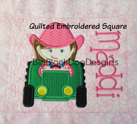 Design Your Own Quilt Block - Custom Made - Applique of Your Choice Made into Embroidered Quilt Block - Name Included