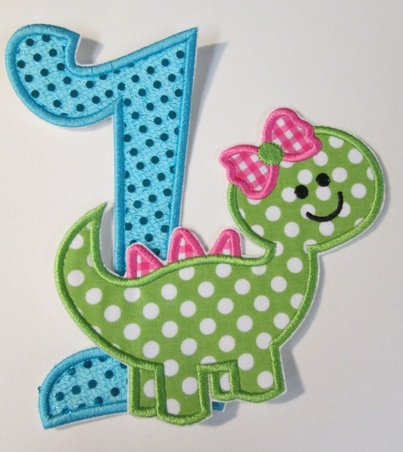 Birthday Set - Girl Dinosaur with Glitter Number