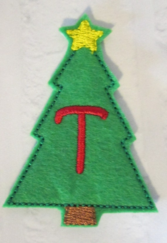 Christmas Tree Alphabet, Felt Applique Patch - Embroidered Felt - Sew On or Glue On - Patches - Felt - Handmade