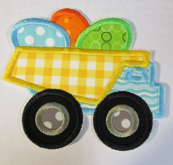 Easter Egg Dump Truck - Iron On or Sew On Embroidered Custom Made Children's Applique