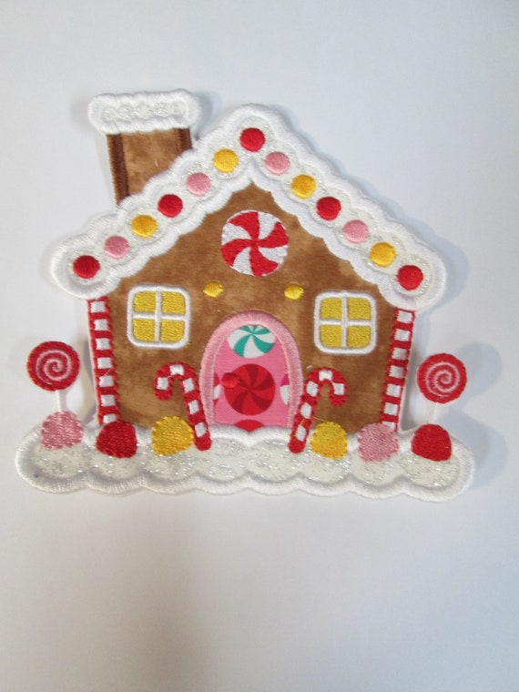 Gingerbread House, Christmas House, Iron On, Sew On, Embroidered Applique Patch, Patches, BigBlackDogDesigns, Village, North Pole