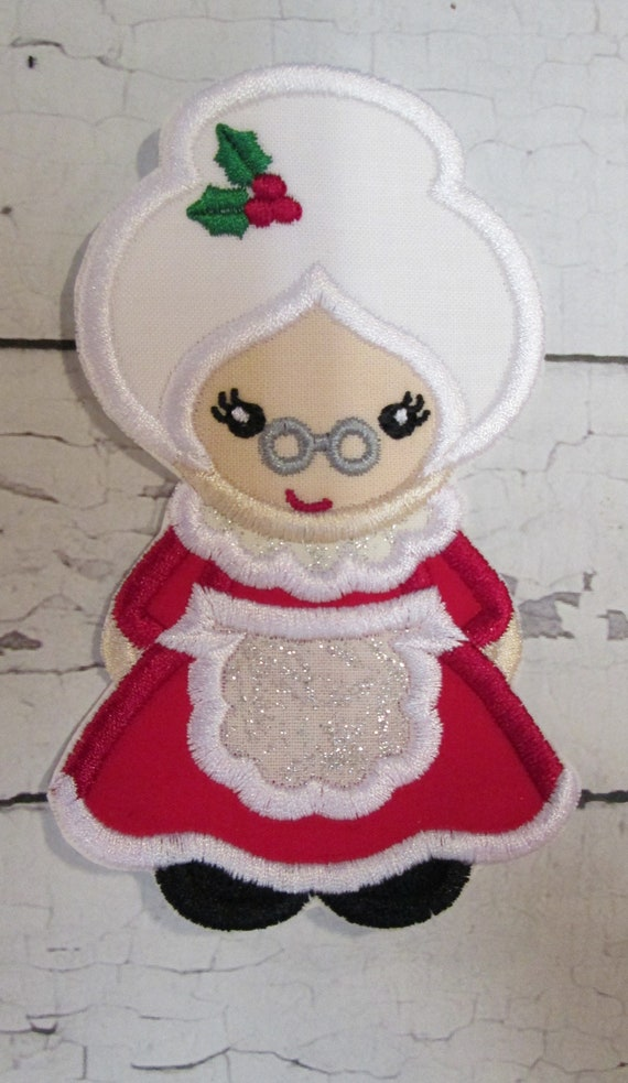 Mrs. Santa Claus Iron On, Sew On, Glue On Embroidered Applique Patch, Custom Made For You, Handmade