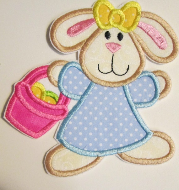 Easter Bunny, Easter Rabbit, Iron On Applique Patch, Sew On, Custom Made, Embroidered, Patches