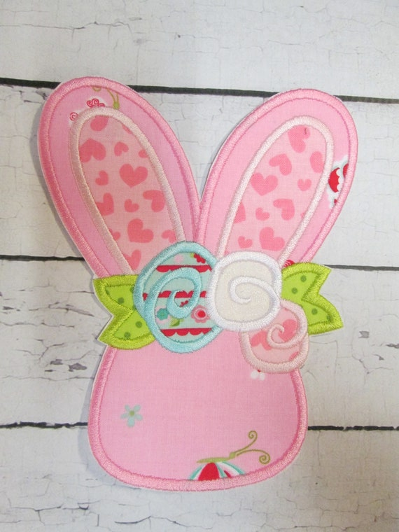 Easter Bunny With Flowers, Embroidery, Applique, Patch, Custom Made, Roses